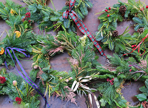 Christmas wreath making in Norwich, Norfolk