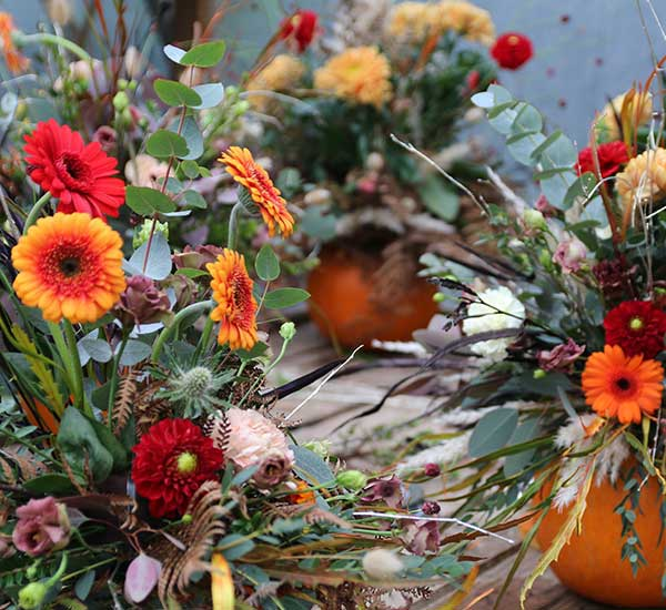 creative floral pumpkin for halloween