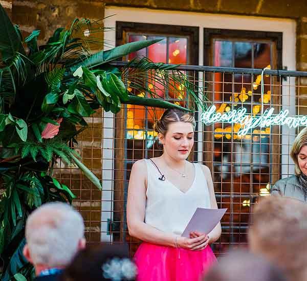 botanical backdrop for wedding
