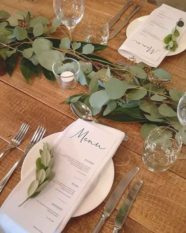 modern wedding table garland
